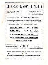 PUBBLICITA' 1929 ASSICURAZIONI D'ITALIA INCENDIO GRANDINE TRASPORTI AVIAZIONE