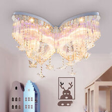 Butterfly Crystal LED Chandelier Kids Bedroom Flush Mount Ceiling Lamp Dimmable