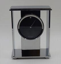 MOVADO CHROME & GLASS MODERN MANTLE CLOCK GERMAN QUARTZ MOVEMENT MUSEUM DIAL