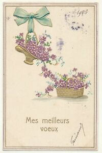 French illustrated postcard 1906 - embossed flower baskets