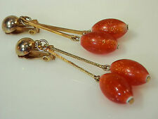 Pretty 1950's Sassy Red Confetti Glitter Lucite Earrings 2F5