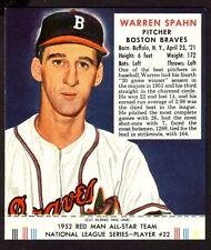 1952 RED MAN WARREN SPAHN  CARD NO: NL22 NEAR MINT
