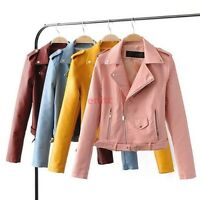 New Women Motorcycle Biker PU Leather Coat Punk Short Jacket Outwear Candy Color