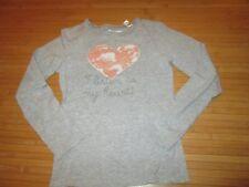 Tee-shirt gris motif coeur sur l'avant,ML,T12ans,marque Okaidi,TBE