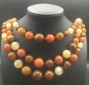Vintage 3 Strand Brown Orange Beaded Lucite Necklace