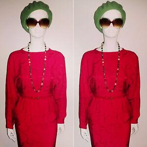 Vintage Designer 1980's Red 100% Silk Dress by JACQUES AZAGURY. Size 10
