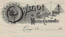 RARE Billhead Owego Electric Light  Motor Company 1880 Great Graphic Advertising
