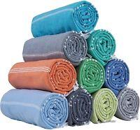 Set of 3 Turkish Hammam Beach Towels 100% Cotton Peshtemals Foutas 180 x 100 cm