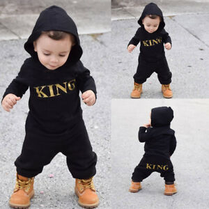 """❤️ Newborn Infant Baby Boys """"KING"""" Print Hooded Romper Jumpsuit Clothes Outfits"""