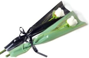 Flower Wrapping Paper Single Rose Packaging Bag 100 Pack Black NEW