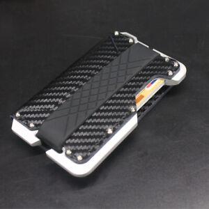 Black/Brown Leather Card Wallets Alloy Carbon Fibre Credit Cards Holder RFID