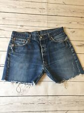Levis 501 Jeans Shorts 36 Waist Raw Edge Hem Denim Blue Distressed Destroyed TR2
