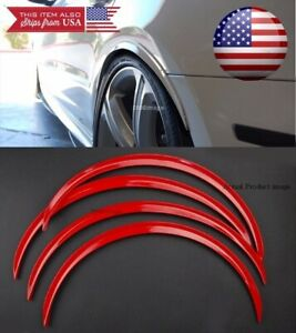 "2 Pairs Red 1"" Flexible Arch Wide Fender Flares Extension Guard Lip For Ford"