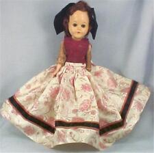 Teen Girl Hard Plastic Doll Auburn Mohair Wig Brocade Gown Vintage 1950s