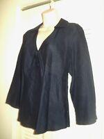 TALBOTS 12 Large Womens 100% Irish Linen Long Sleeve Navy Blue Shirt Tunic L
