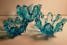 MID CENTURY MODERN ART GLASS STACKABLE BOWLS CANDLE HOLDERS ASHTRAY LOT VINTAGE