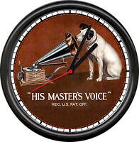 RCA His Master's Voice Victrola Nipper Dog Phonograph Gramophone Sign Wall Clock