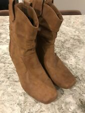 WOMENS BROWN RAMPAGE COWBOY BOOTS BOOTIES SIZE 7.5