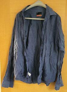 John Lewis long sleeved blue linen shirt size large Used