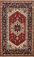Geometric Indo Heriz Traditional Oriental Area Rug Hand-knotted Foyer Carpet 4x6