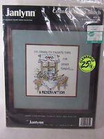 "A Reservation Vintage Cross Stitch Kit Janlynn new vintage 80-35 8"" X 8"""
