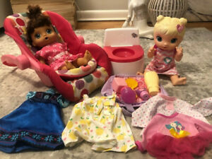 Lot of 2 Baby Alive Dolls and Accessories