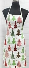 "Printed Fabric Cotton Kitchen Apron (19""x30"") WINTER,COLORFUL CHRISTMAS TREES,HC"