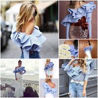 Blue Off Shoulder Ruffle Blouse Shirt Lady Top Striped Long Sleeve Cotton Blouse