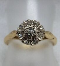 Vintage/ Antique 18ct Daisy Style Diamond Cluster Ring Size J