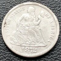 1872 S Seated Liberty Dime 10c High Grade XF Det. VERY RARE KEY DATE #16387