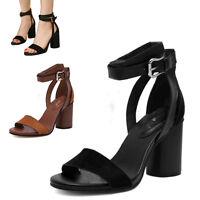 Fashion Women Ladies Open Toe Block High Heel Sandals Ankle Strap Buckle Shoes