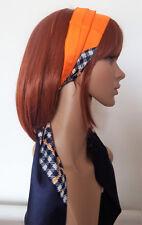 Bandeau pour cheveux Vintage Headband VTG orange pied de poule marine