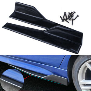 Carbon Fiber Black Car Side Anti-scratch Skirt Spoiler Rocker Splitters Kits