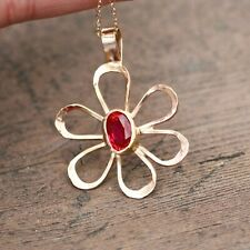 Ruby Flower Pendant Bezel Solid 14K Yellow Gold July Birthstone 40th Anniversary