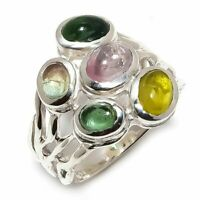 Multi Tourmaline Natural Gemstone Handmade 925 Sterling Silver Ring Size 7 R-123