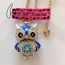 """CUTE BLUE OWL w/ FLOWER TUMMY Enamel 28"""" Pendant Necklace Betsey Johnson"""
