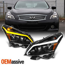 [Black]Fits 10-13 G37/G25/Q40 Sedan Switchback LED Signal Projector Headlight