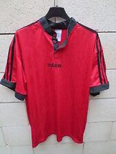 VINTAGE Maillot ADIDAS rouge noir col Mao ancien shirt trikot XL