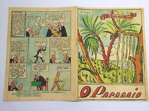 RARE 1943 TINTIN First Color Appearance O PAPAGAIO BD Portuguese Magazine #443