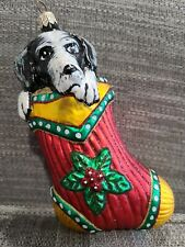 """Slavic Treasures """"Border Collie In A Christmas Stocking"""" Signed Glass Ornament"""