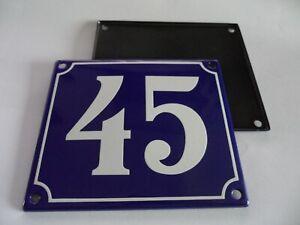Old French Blue Enamel Porcelain Metal House Door Number Street Sign / Plate 45
