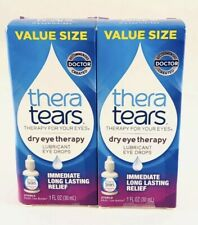 Thera Tears Dry Eye Therapy - SET OF (2) 1 OZ Lubricant Eye Drops Value Size!