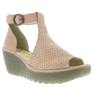 Womens Fly London Yall Cupido Cut Out Peep Toe Perforated Wedge Heels US 5-11