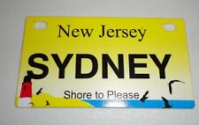 New Jersey Bicycle SYDNEY License Plate NEW!