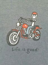 Mens Life Is Good Motorcycle Jake Riding T Shirt Sz L