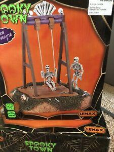 Lemax Spookytown Skeleton Swings, New