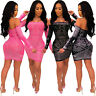 Sexy Women's Off the Shoulder Rhinestones Backelss Bodycon Short Dress Clubwear