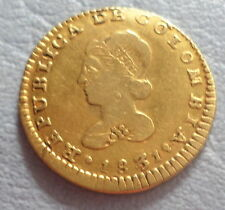 COLOMBIA COIN   GOLD  1 ESCUDO 1831 R.V  INVERTED E VERY RARE XF