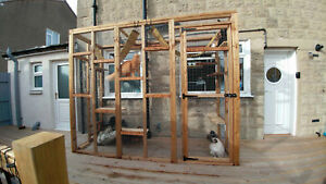 Catio / Cat Lean to 8ft x 3ft x 7.5ft tall with ladders and shelves secure run