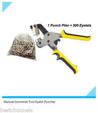 Manual Grommet Tool Eyelet Puncher for Eyelet #4 (10.5mm),with 500 Eyelets